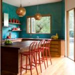 Cozinha com efeito de textura verde